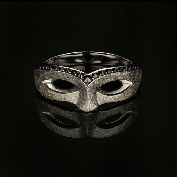 Masquerade black diamond ring