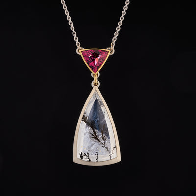 dendritic quartz and rhodolite garnet pendant