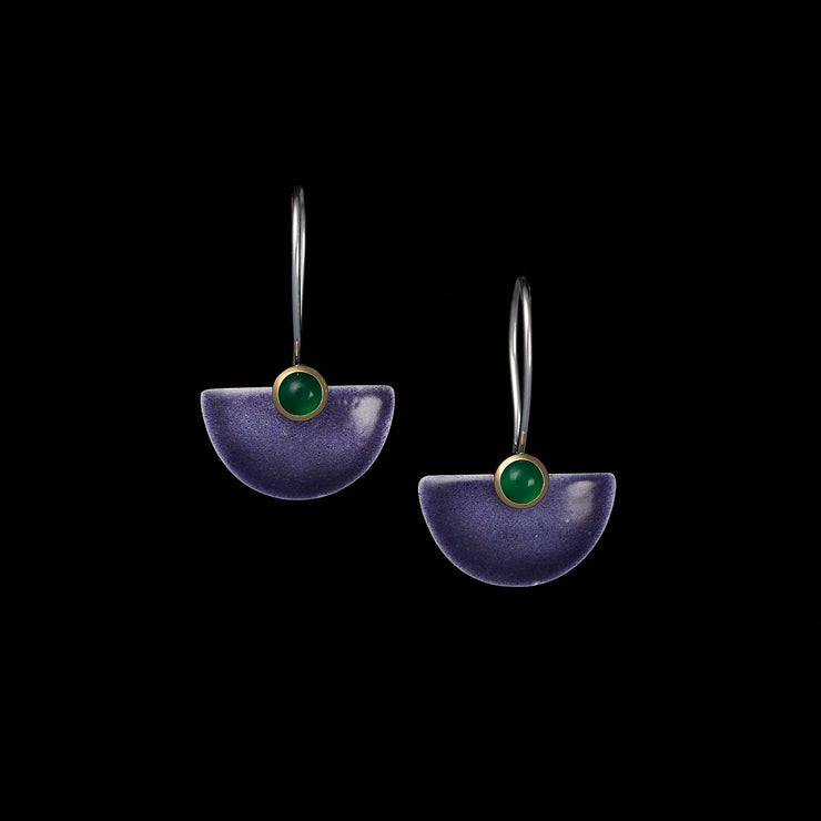 Enamelled Fan earrings, purple / green agates