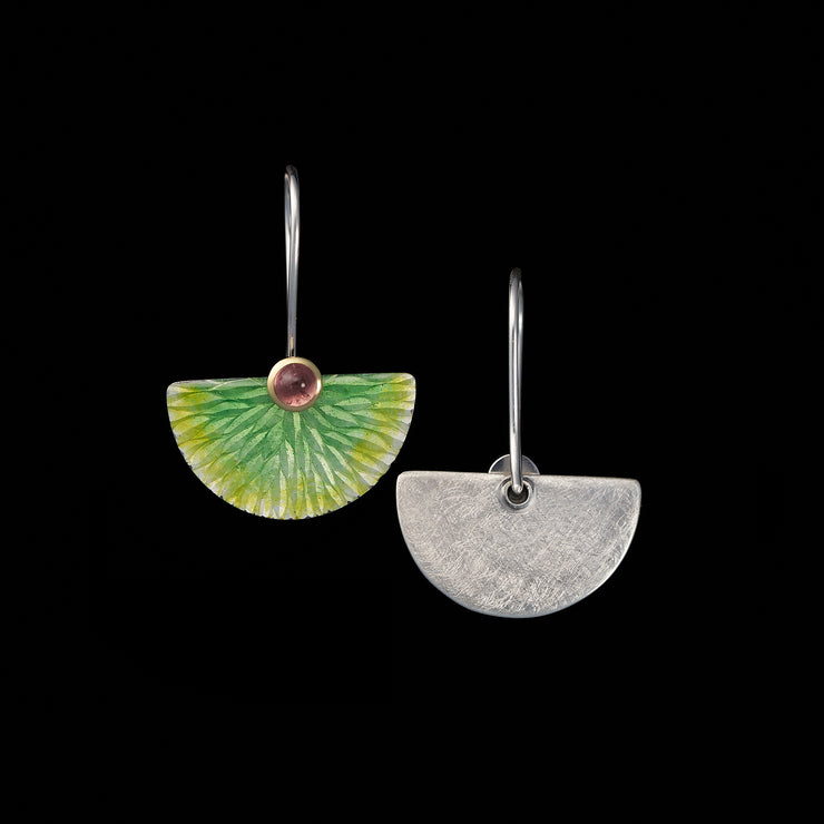 Enamelled Fan earrings, lime green leaf pattern / pink tourmalines