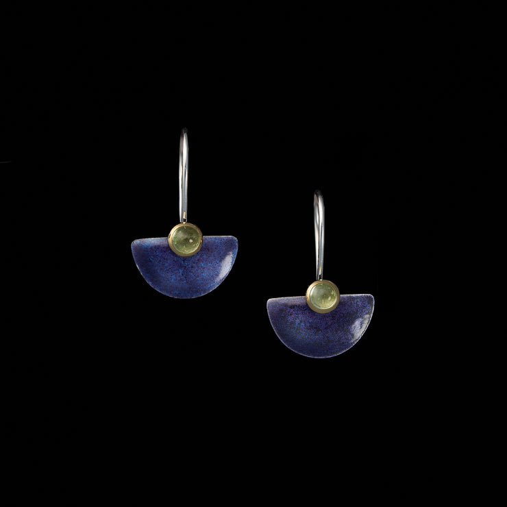 Enamelled small Fan earrings, purple / pale green tourmalines