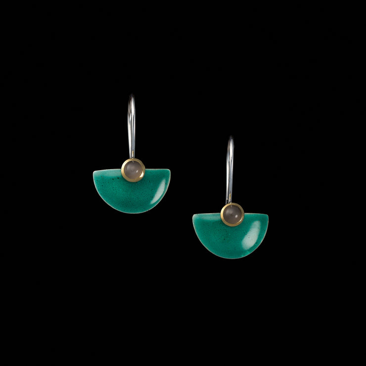 Enamelled small Fan earrings, turquoise green / moonstones