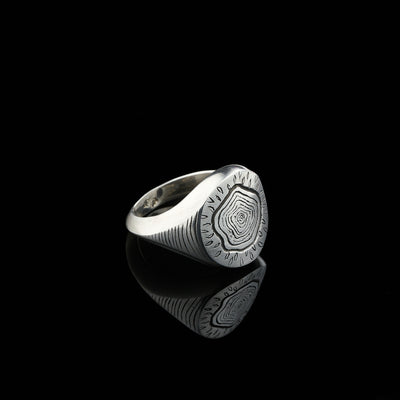 "Unisex chunky silver signet ring, ""Tree stump"" engraving, custom made engraving."