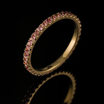 Rhodolite garnet eternity band