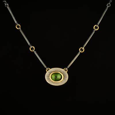 Green tourmaline Halo pendant