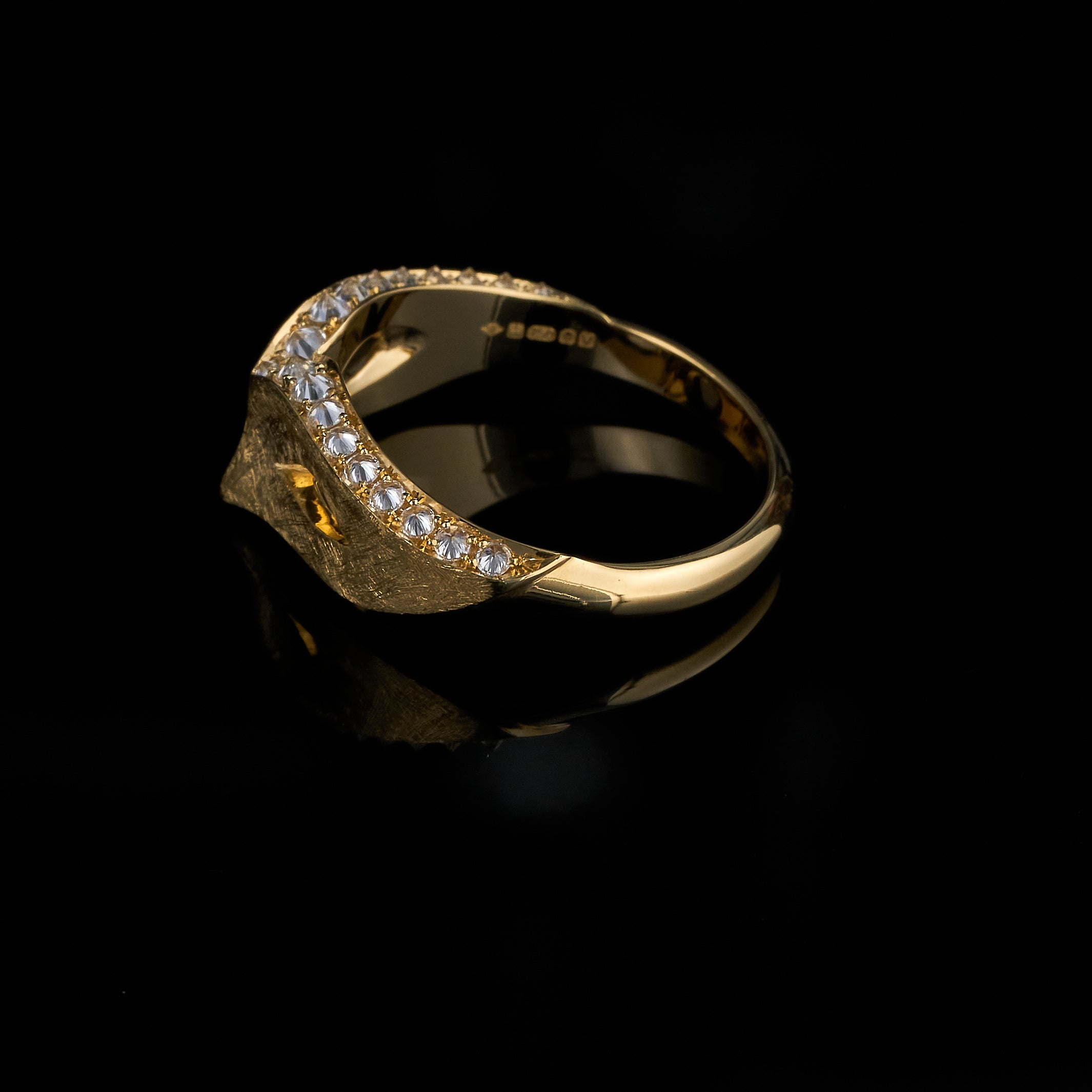 Venice Mask Ring, reverse-set diamonds