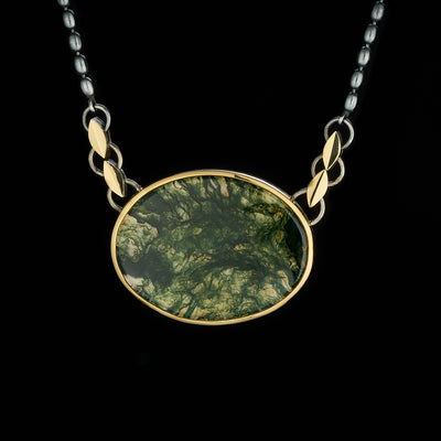 moss agate pendant in silver and gold