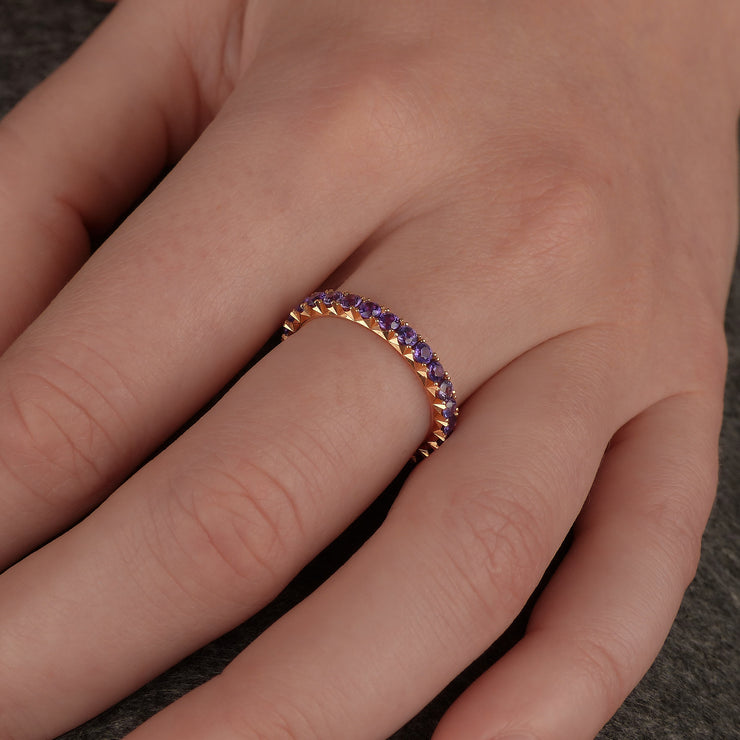 rose gold and purple sapphire eternity ring