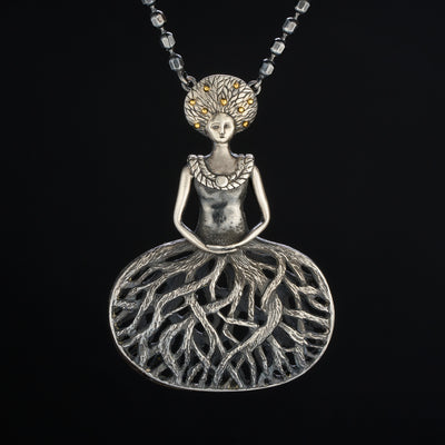 forest goddess pendant in sterling silver with gold accents