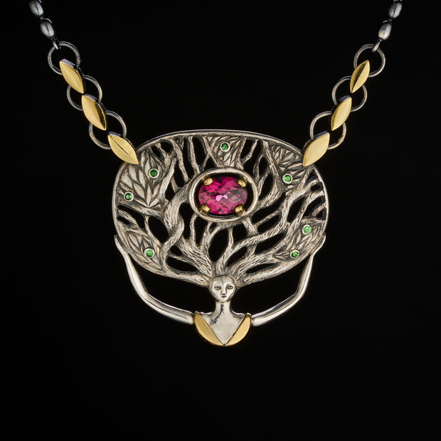 Forest Goddess pendant with garnets