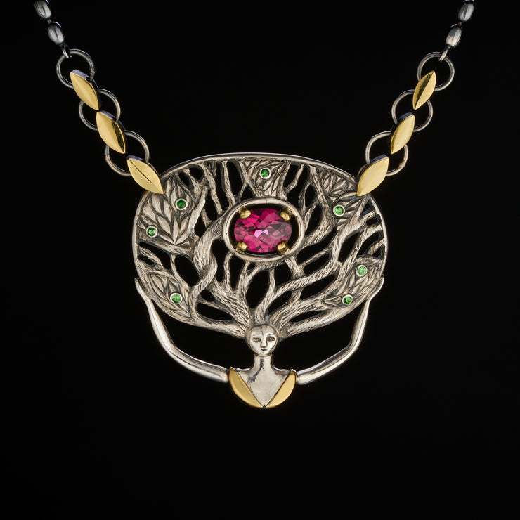 unique Forest goddess pendant in silver and gold