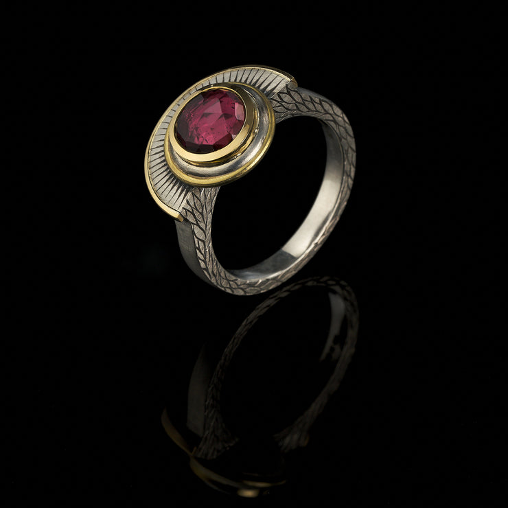 Crescent pink tourmaline ring