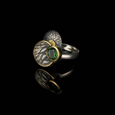Tree Tales ring with green tourmaline