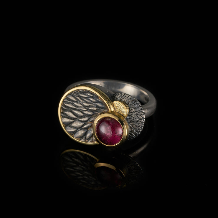 Tree Tales ring with rubellite tourmaline