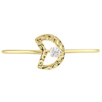 White Topaz Moon Bangle in Yellow Plated Sterling Silver