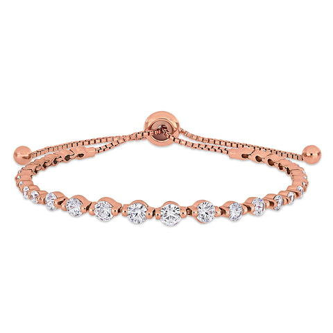4 3/8 CT TGW Cubic Zirconia Adjustable Bolo Bracelet in Rose Plated Sterling Silver