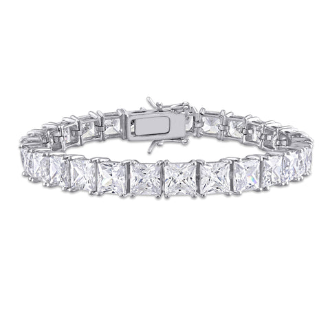 56 3/4 CT TGW White Cubic Zirconia Tennis Bracelet in Sterling Silver