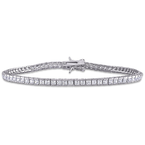 18 1/4 CT TGW White Cubic Zirconia Tennis Bracelet in Sterling Silver