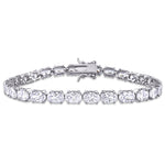 21 CT TGW White Cubic Zirconia Oval Tennis Bracelet in Sterling Silver