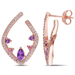 1 CT TGW Amethyst, Pink Tourmaline and White Topaz Abstract Studded Earrings in Rose Plated Sterling Silver