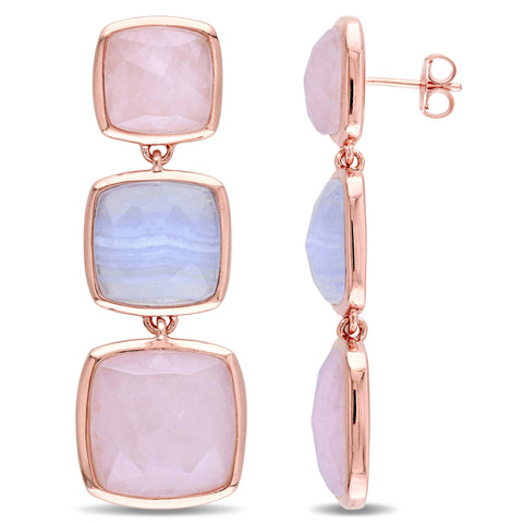 4.4 CT TGW Blue Lace Agate and Rose Quartz Tiered Earrings in Rose Plated Sterling Silver
