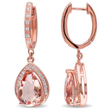 6.36 CT TGW Cubic Zirconia and Simulated Morganite Fashion Earrings Silver Rose