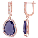 6 1/2 CT TGW Synthetic Amethyst and White Topaz Halo Drop Earrings in Rose Plated Sterling Silver