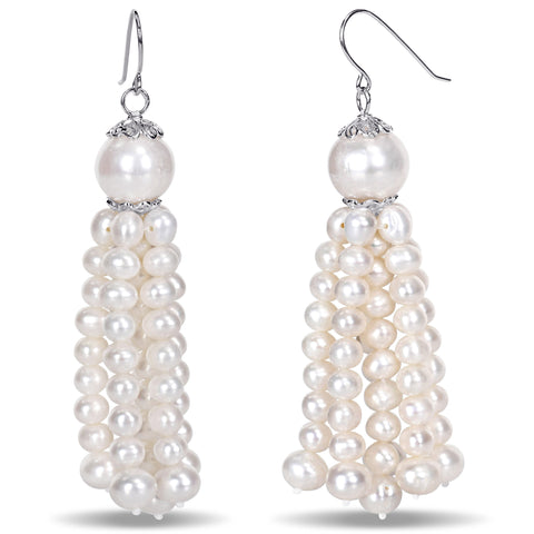 4.5-11 mm Freshwater Cultured Fashion Tassel Pearl Earrings Silver White