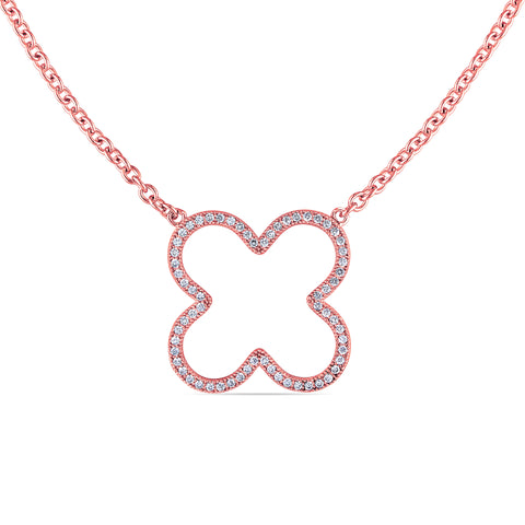 Cubic Zirconia Clover Necklace in Pink Plated Sterling Silver