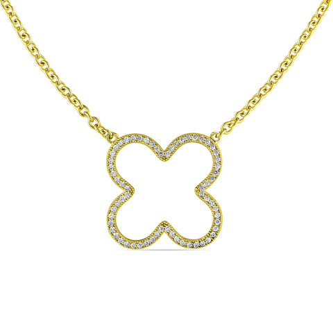 Cubic Zirconia Clover Necklace in Yellow Plated Sterling Silver
