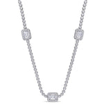 15Ct TGW Cubic Zirconia Silver Necklace w/Lobster Clasp