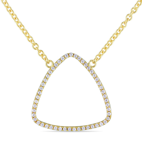Cubic Zirconia Geometric Necklace in Yellow Plated Sterling Silver
