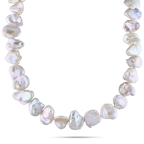 15.5 - 16 mm Freshwater Pearl Necklace Silver White Ball Clasp Length (inches): 18