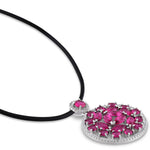 "18.4 CT TGW Cubic Zirconia and Red Cubic Zirconia Pendant w/ 24"" Leather Cord & Lobster Clasp Silver White"