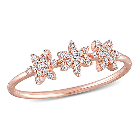 1/8 CT TW Diamond Floral Cluster Ring in 14k Rose Gold