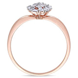 1/4 CT TW Tapered Baguette Diamond Cluster Pear Shaped Ring in 14k Rose Gold