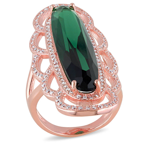 35 CT TGW Cubic Zirconia and Green Cubic Zirconia Fashion Ring Silver Pink