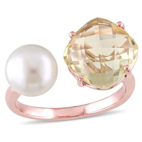 White Cultured Freshwater Pearl and Lemon Quartz Ring in Rose Plated Sterling Silver