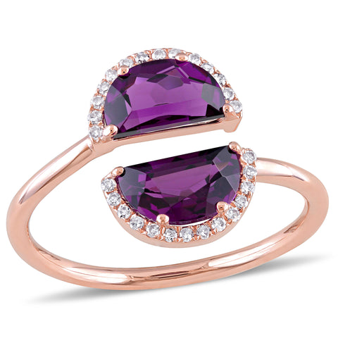 1/10 CT TW Diamond and Rhodolite Bypass Ring in 14k Rose Gold