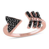 0.49 CT TGW Black Cubic Zirconia Fashion Ring Silver Rose