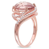 6.92 CT TGW Cubic Zirconia and Simulated Morganite Fashion Ring Silver Rose