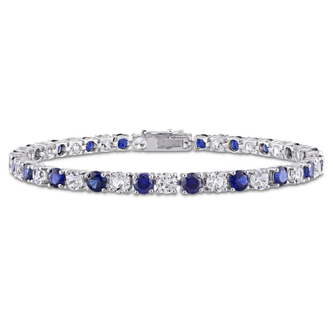 14 1/4 CT TGW Created Blue and White Sapphire Bracelet in Sterling Silver