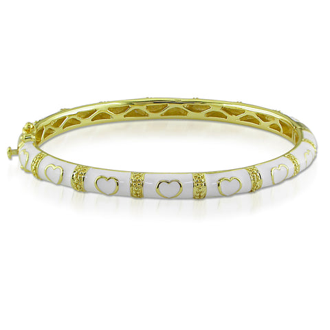 White Enamel Bangle with Hearts in Yellow Plated Sterling Silver