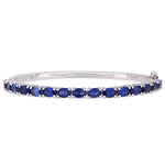 8 1/4 CT TGW Created Blue Sapphire Bangle Silver
