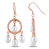 CHANDELIER EARRINGS WITH 5-5.5mm Freshwater Cultured RICE PEARLS Silver Pink