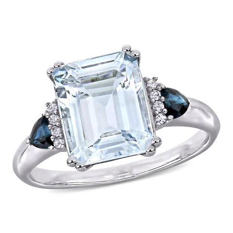 3 1/3 CT TGW Ice Aquamarine and Sapphire and Diamond-Accent Cocktail Ring in Sterling Silver