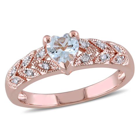 Diamond and Aquamarine Heart Vintage Ring in Pink Plated Sterling Silver