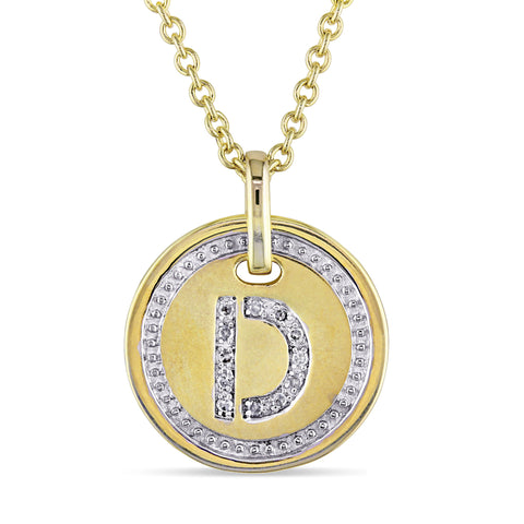 "Diamond ""D"" Initial Pendant with Chain in Yellow Plated Sterling Silver"