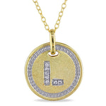 "Diamond Initial ""L"" Pendant with Chain in Satin Yellow Plated Sterling Silver"