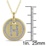 Diamond Accent Initial Circle HaloPendant with Chain in Yellow Plated Sterling Silver